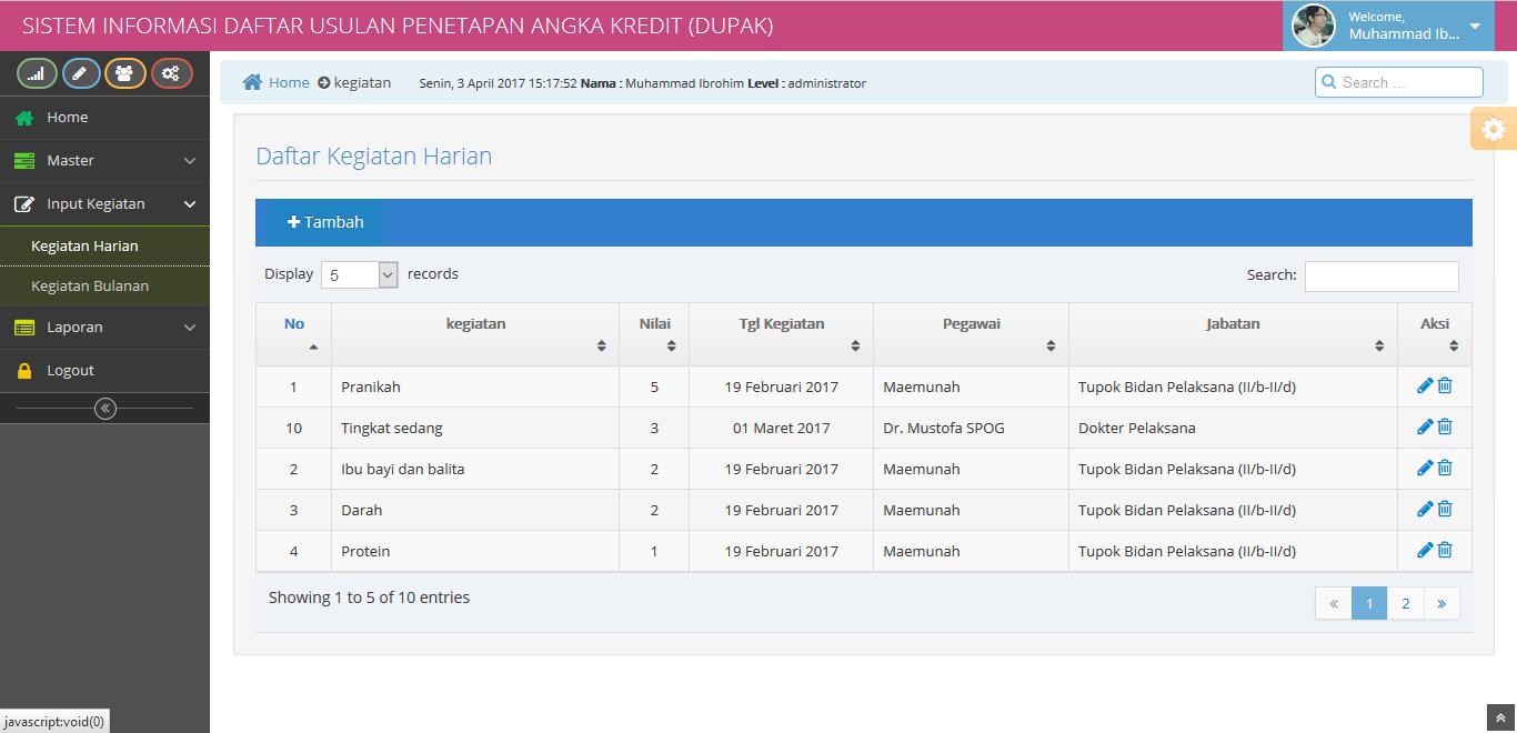 Source Code Sistem Informasi Daftar Usulan Penetapan Angka Kredit