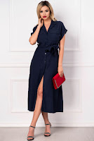 Rochie de vara din vascoza bleumarin cu maneca raglan • Raspberry Fashion