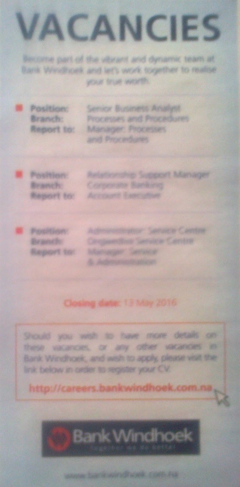 Jobs In Namibia Bank Windhoek Vacancies Administrator