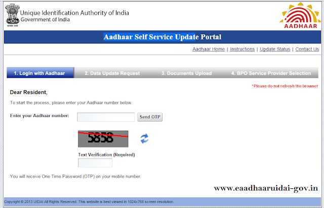 Aadhaar card online corrections and update data