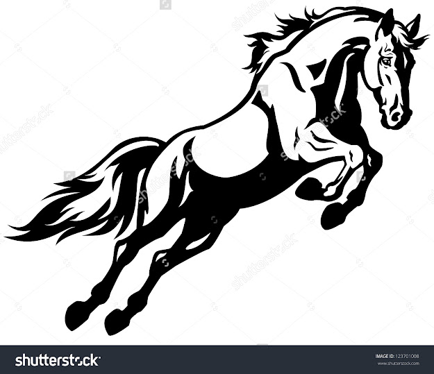 Jumping Horseblack White Picture Isolated On White Backgroundvector  Illustration