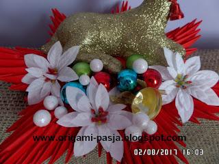 boże narodzenie, stroik, na stół, renifer, gwiazda, bombki, 3d, origami, modułowe, czerwony, gwiazda betlejemska
