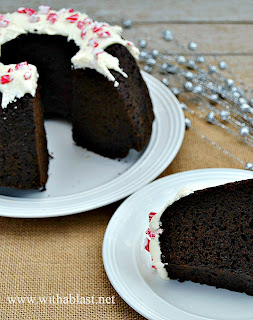Chocolate Pound Cake ~ Super moist Chocolate Pound Cake with a to-die-for Frosting and decorated for Christmas {which can be changed to suit any occasion} #PoundCake #ChocolateCake #Christmas www.withablast.net