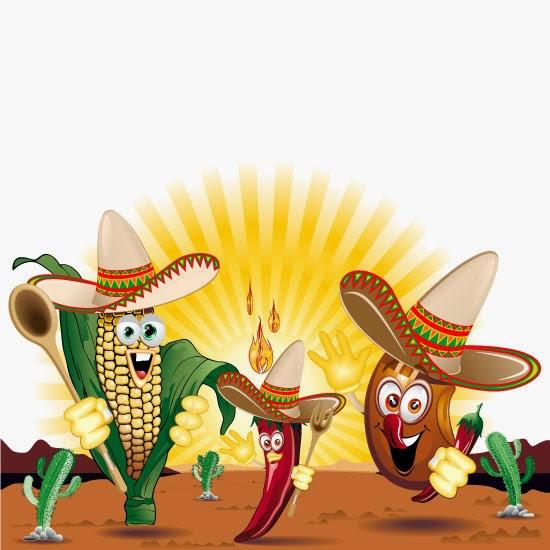 Caricaturas de alimentos méxijanos - Vector