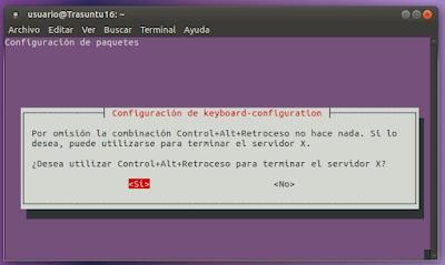 Configuración de teclado Ctrl+Alt+Retroceso