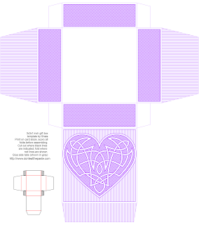 Knotwork heart box in purple and white