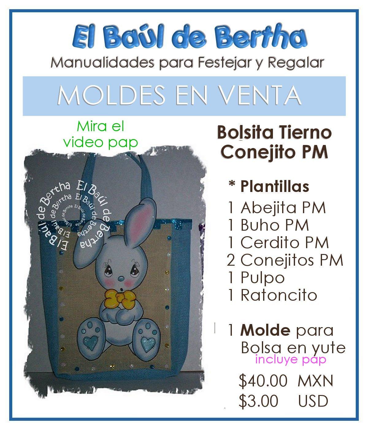 Tierno Conejito PM - Incluye mas animalitos VentadeMoldesConejitoPM