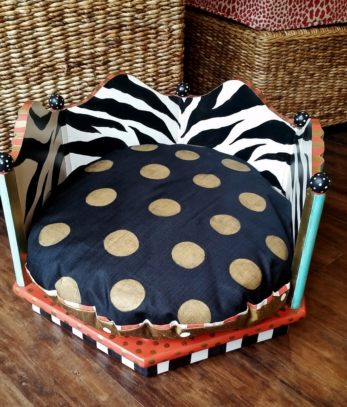 round animal print dog bed and cushion