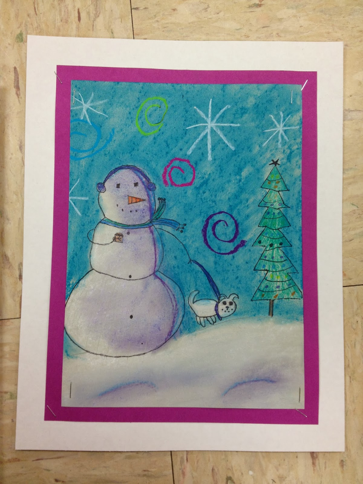 What S Happening In The Art Room 5th Grade Snowmen At Night