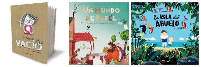 libros infaniles: vacío, un mundo de papel, la isla del abuelo