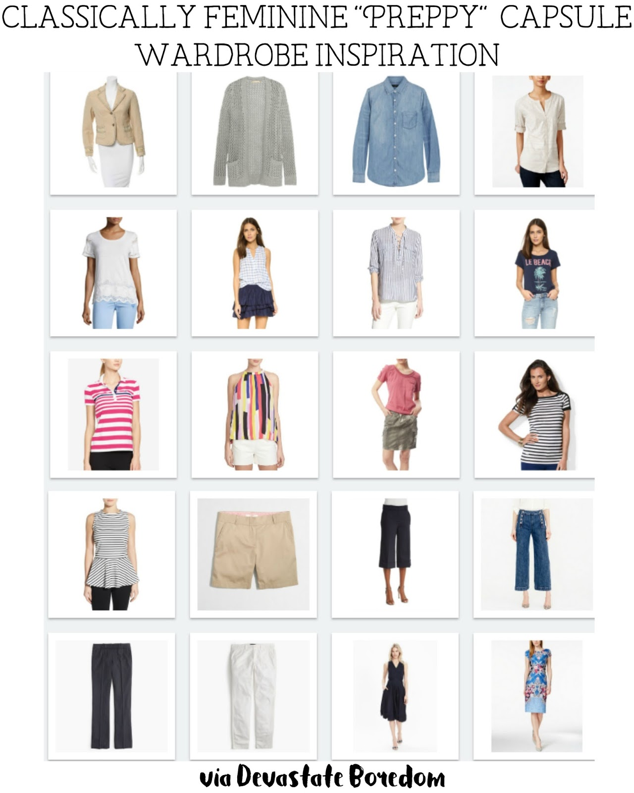 Sample Classically Feminine Preppy Ish Capsule Wardrobe 3 Season 20 Piece 70 Outfit Mix And