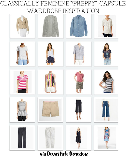 "SO much easier to understand capsule wardrobes with a visual! and it's not monochromatic either!  Great ideas here for a ""Classically Feminine, Preppy-ish"" Capsule Wardrobe!  Inspiration for a 3-Season, 20-piece 70+outfit minimalist closet.  Easy approach and inspiration for mix-and-match style!  Classic fashion, modest looks - via Devastate Boredom"
