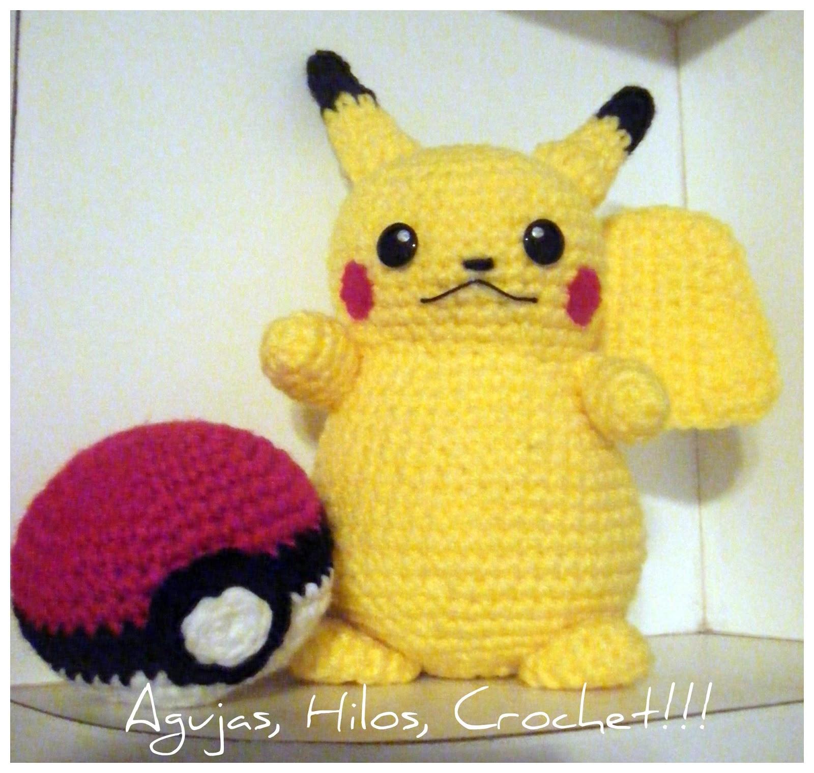 Pikachu - Agujas, Hilos... Crochet!!!