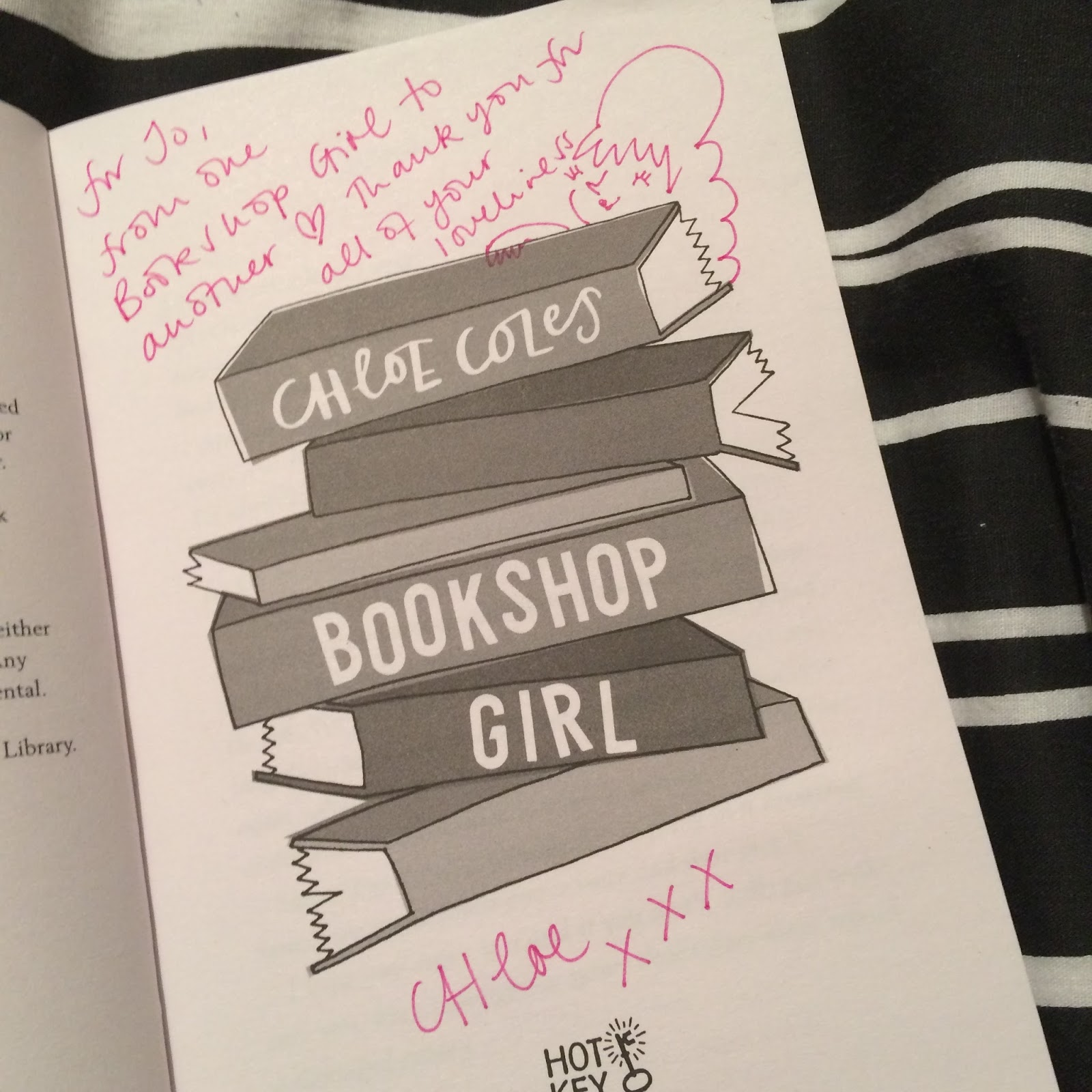 Signed title page of Bookshop Girl by Chloe Coles