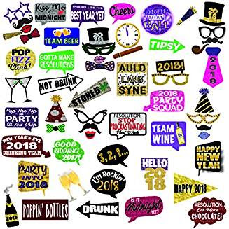 New Year's Eve 2018 Deluxe Photo Booth Props. Set of 57 Large Props by Photo Party Props #auldlangsyne #christmasmusic #learnyourchristmascarols #newyearseveparty available on Amazon