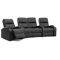Octane Edge XL800 Row Of 4 Seats With Middle Loveseat, Curved Row In Black  Leather With Manual Recline