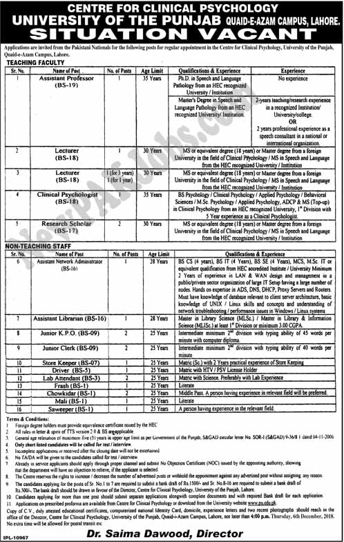 Jobs in Center for Clinical Psychology Punjab University | November2018