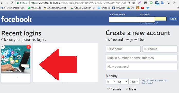 Login to facebook without password