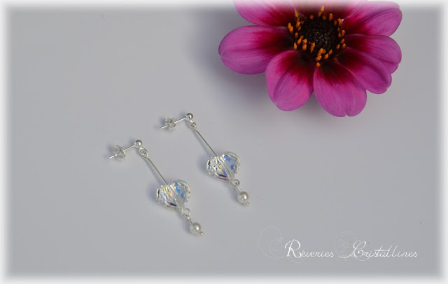 earrings silver with swarovski hearts