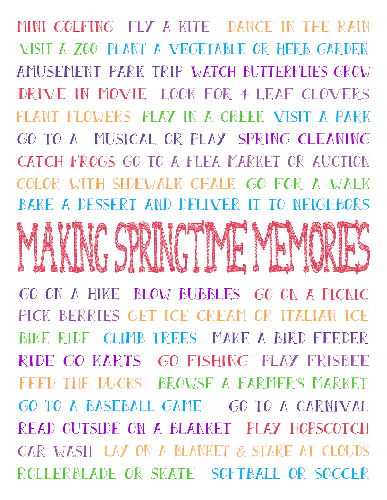 Spring Bucket List - Download a FREE Spring Bucket list and start making memories with your family this spring. Ideas for fun spring activities are ready to download with one click.