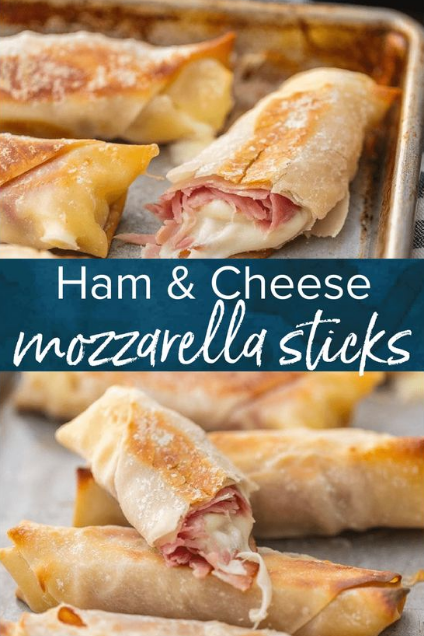 Baked Ham and Cheese Mozzarella Sticks