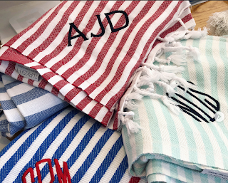 monogrammed Turkish towels, Chatham Thread works