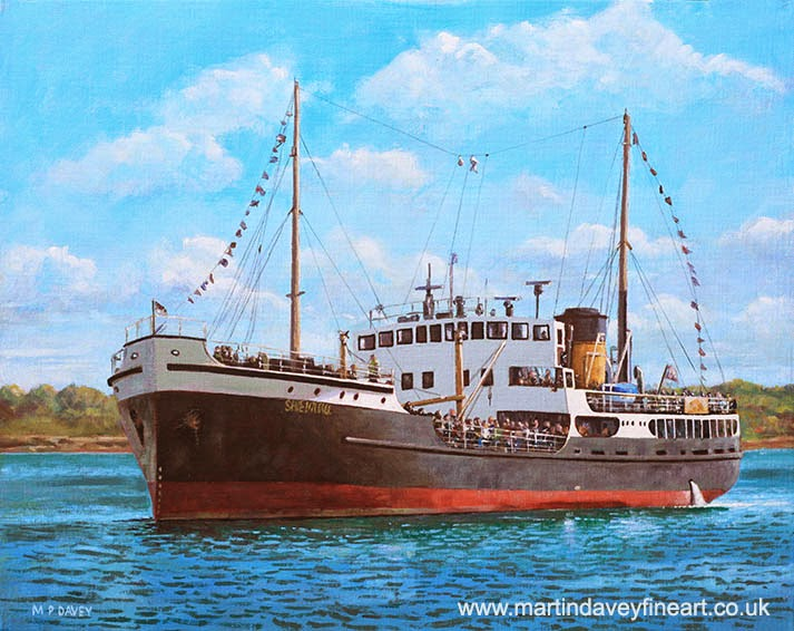 SS Shieldhall on a cruise in the Solent-acrylic painting