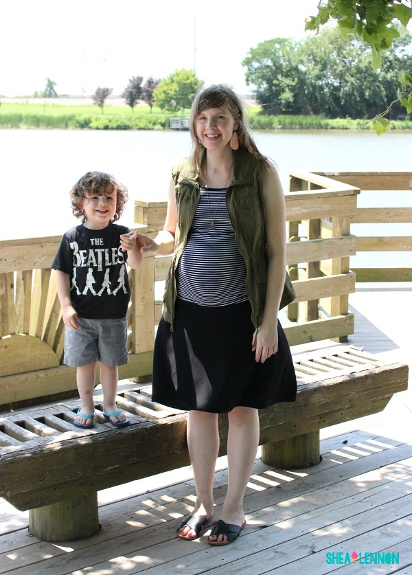 Light layers, stripes, neutrals, and a graphic tee - summer style for mom and toddler boy