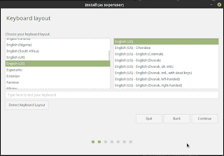 Linux Mint 19 Tara installation choose keyboard language