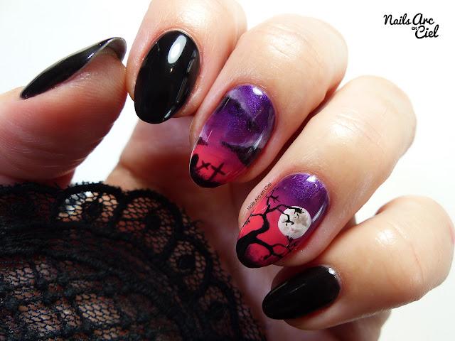 Nail Art - Cimetière Halloween sur dégradé en VSP par Nails Arc en Ciel