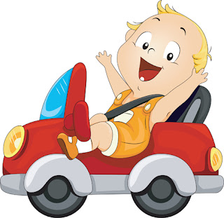 Clipart image of a sweet baby in a toy car