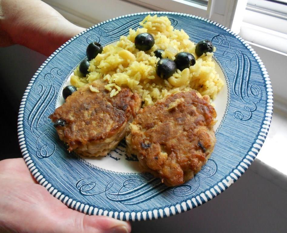 Curried Rice and Olives and salmon patties