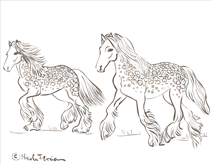 Nicole's Free Coloring Pages: Gypsy Horses * Coloring Page