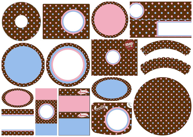 Pink and Light Blue Polka Dots in Chocolate: Free Printable Candy Bar Labels.