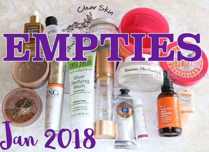 Beauty Empties January 2018 + Project Pan Challenge