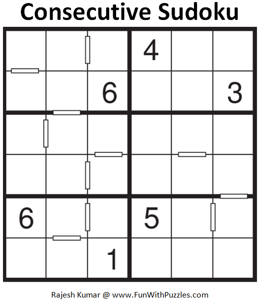 Consecutive Sudoku (Mini Sudoku Series #61)