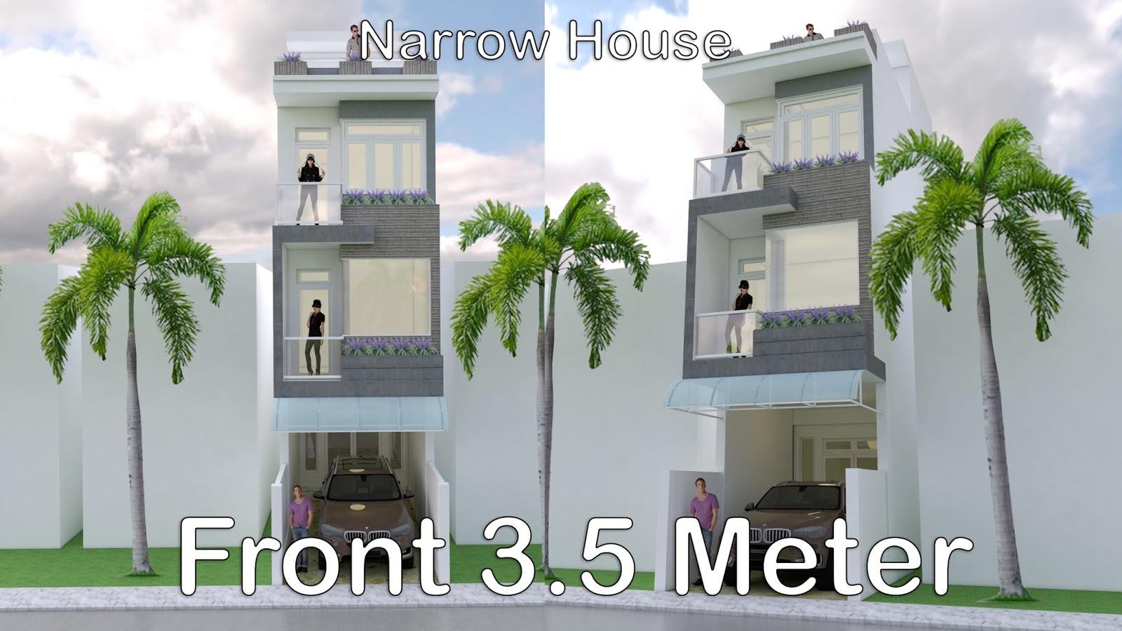 Modern Narrow House Design 3.5 X 18 Meter