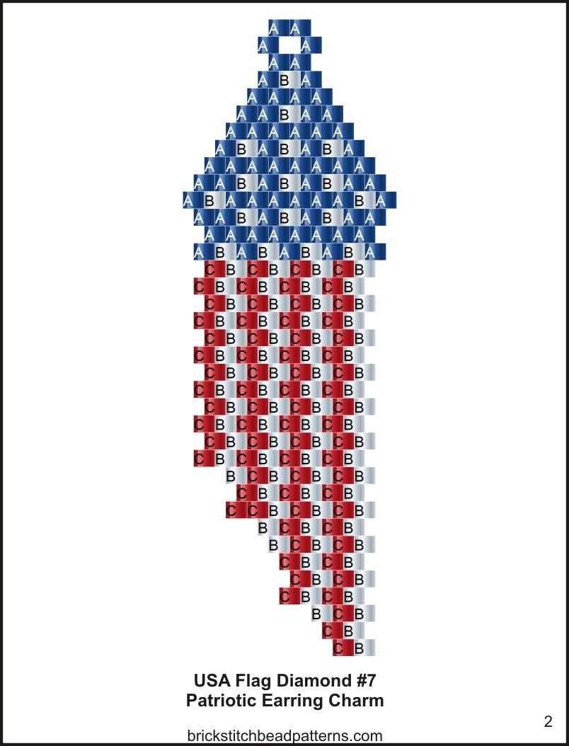 Brick Stitch Bead Patterns Journal: USA Flag Diamond #7 ...