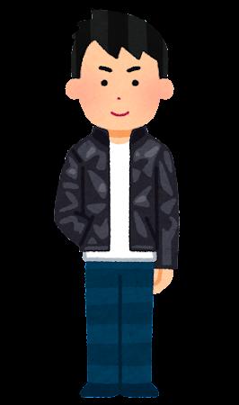 シングルの革ジャンを着た人のイラスト(男性)