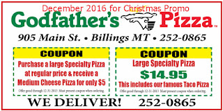 Godfathers Pizza coupons for december 2016