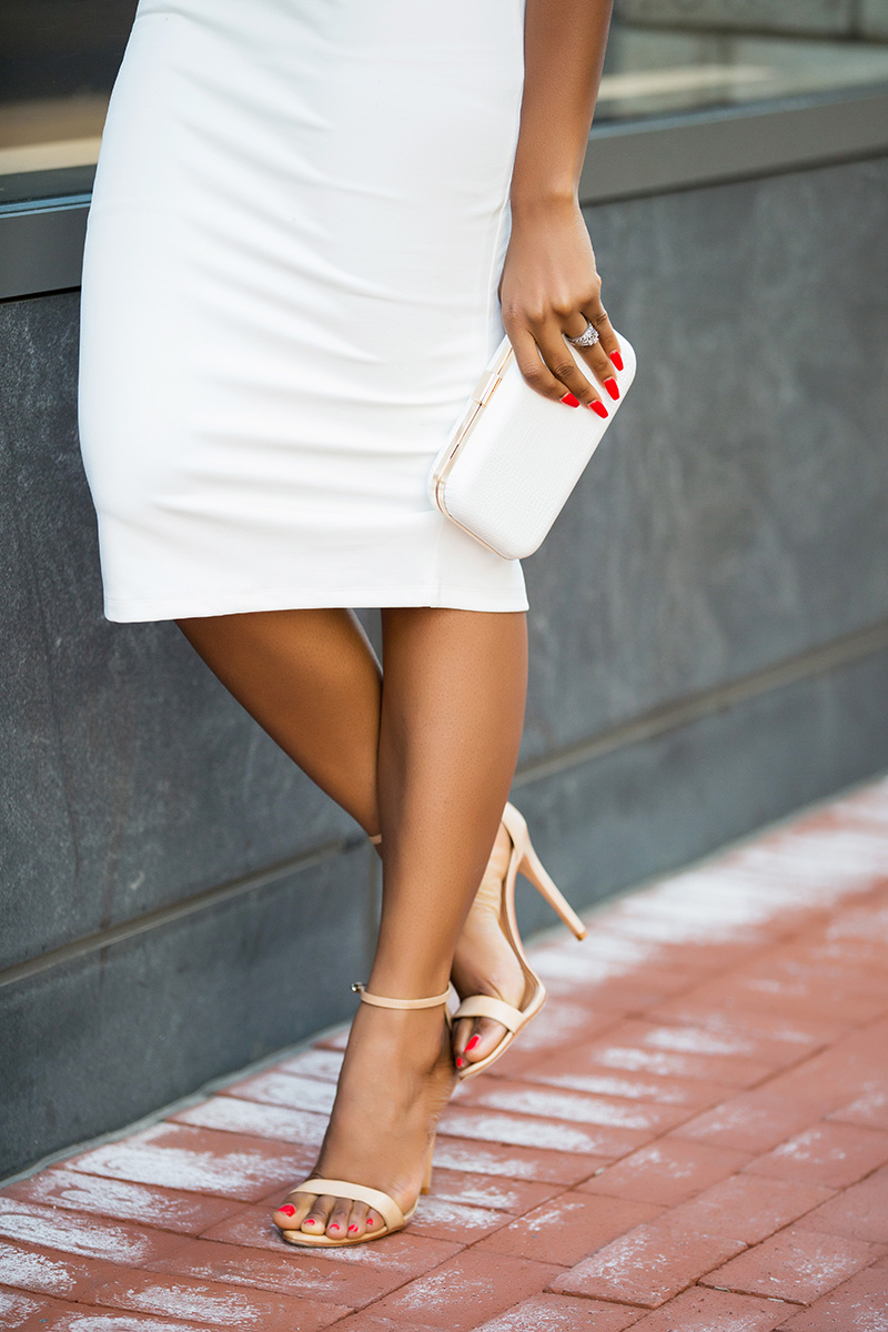 misha collection misu white dress, schutz shoes, fwstyle clutch, jadore-fashion.com