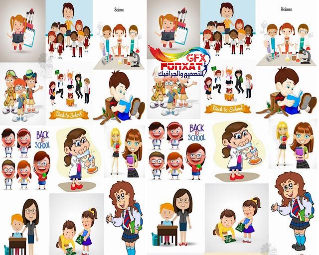 تصميمات كرتون اطفال مجموعة كبيرة من تصميمات الفكيتور للاطفال
