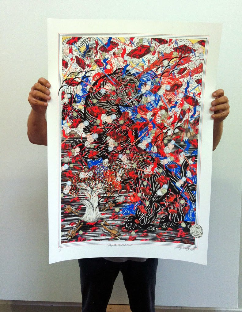 """Andrew Schoultz """"Sing The Troubled Beast"""" Limited Edition Hand-Painted Print Release Information - StreetArtNews Exclusive"""