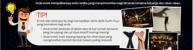 Earth Hour, tips earth hour menyeronokkan