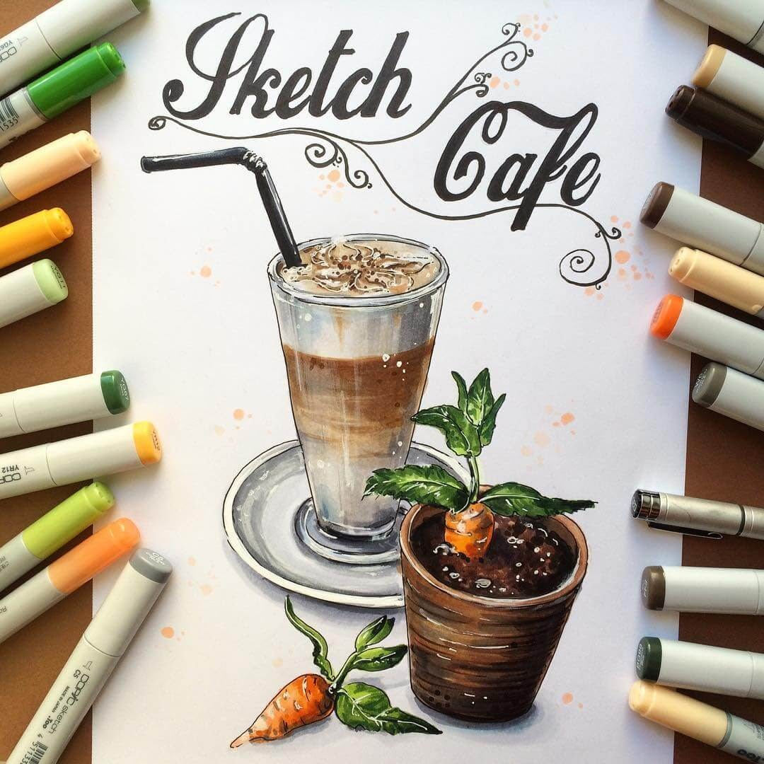 05-Coffee-Irina-Shelmenko-Ирина-Шельменко-Travel-Diary-Sketches-and-Moleskine-Drawings-www-designstack-co