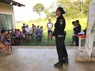 Apresentação do PROERD nas comunidades indígenas Tanajura e Capoeirinha