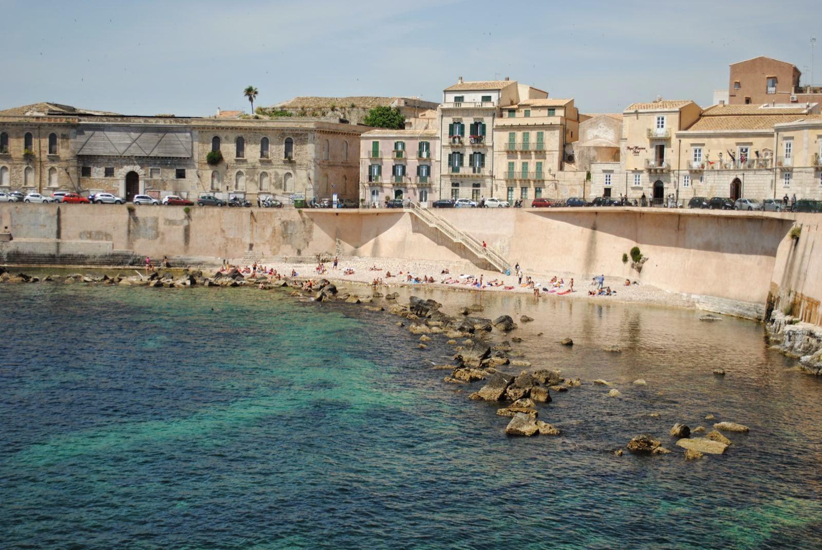The Small Beach Near Our Hotel On Island Of Ortigia