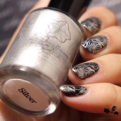 swatch of nail stamping polish Silver by Moonflower Polish