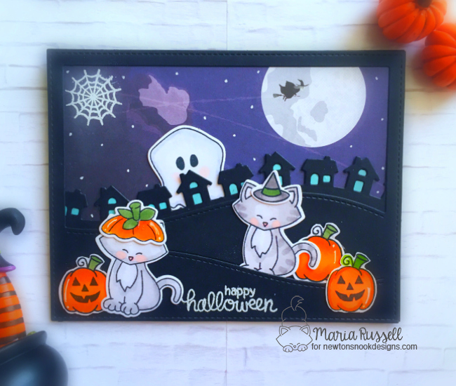 Halloween Cat in Costumes Card by Maria Russell | Newton's Costume Party Stamp Set and Die Set by Newton's Nook Designs #newtonsnook #handmade