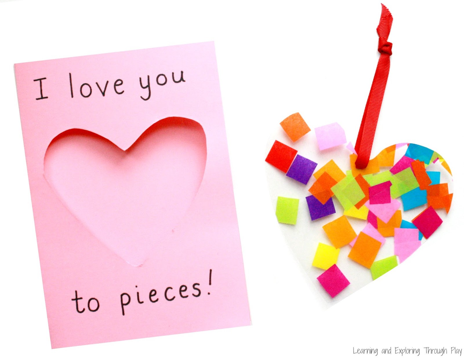 learning and exploring through play love you to pieces suncatcher card. Black Bedroom Furniture Sets. Home Design Ideas